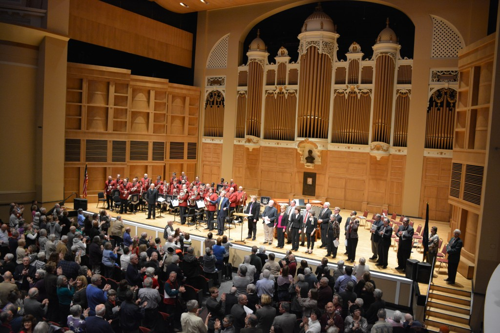 The stage in front of the Mighty Kotzschmar Organ is active again. Hymn Festival, November 16th, 2014.